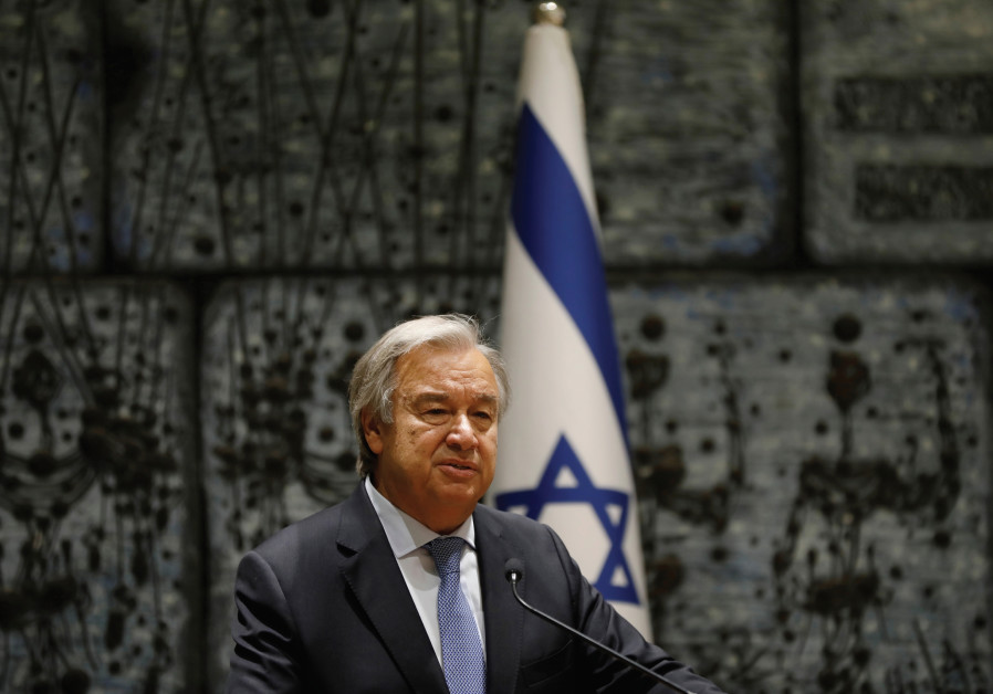 UN SECRETARY General Antonio Guterres delivers a statement during his meeting with Israeli President