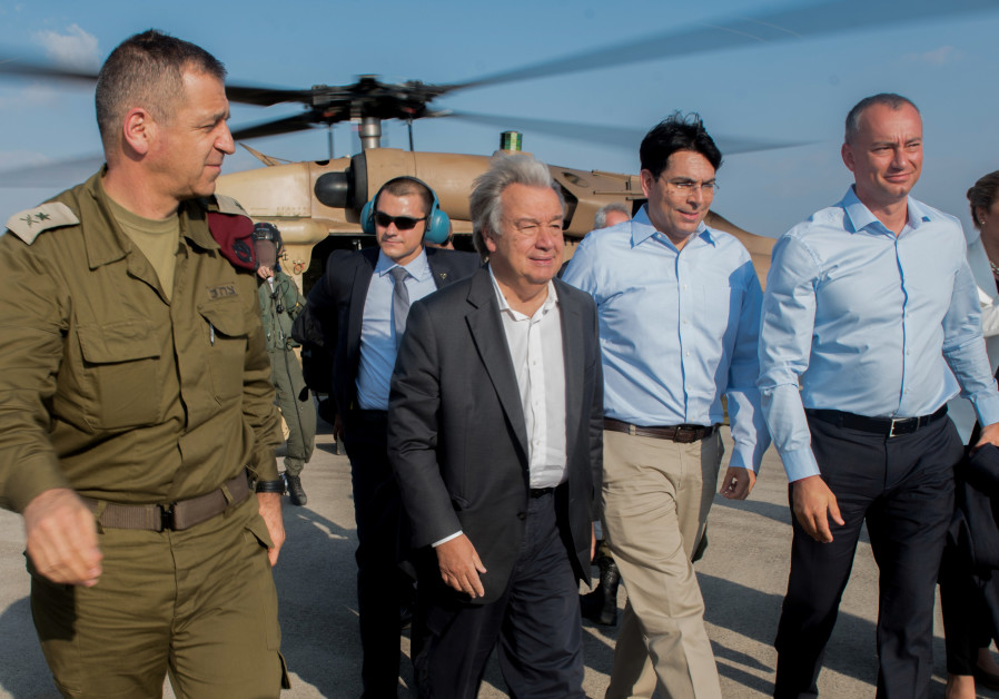 UN Secretary General Antonio Guterres is accompanied by Danny Danon as he tours the Gaza border
