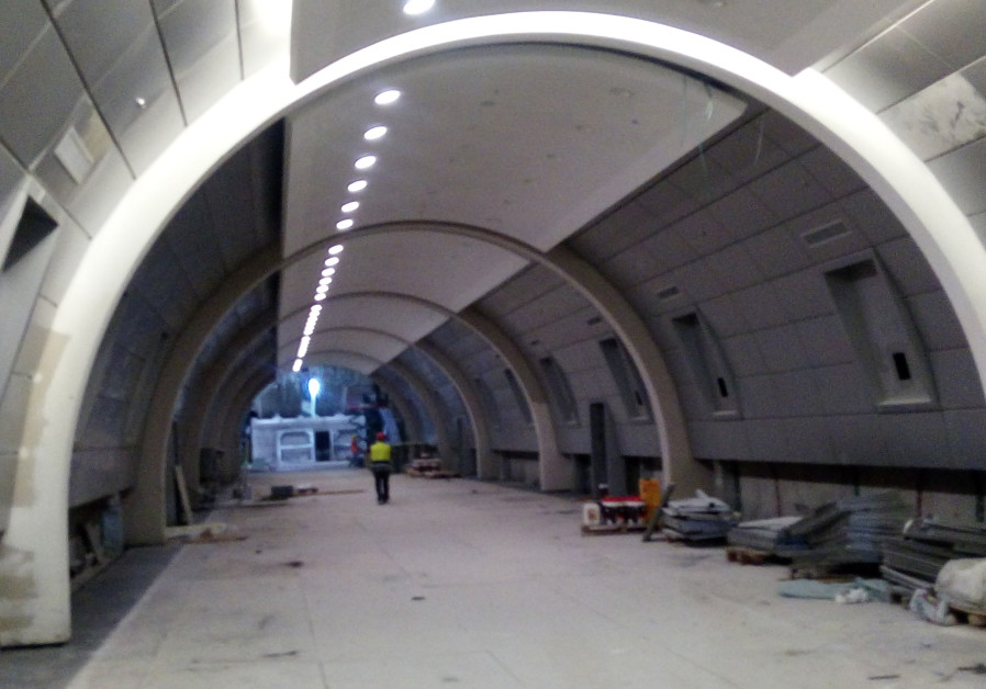 Deep underground, the construction site for the high speed train.