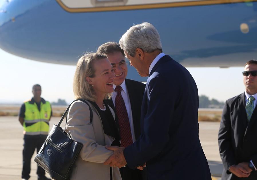 U.S. Ambassador to Jordan Alice G. Wells welcomes Secretary of State John Kerry to Amman, Jordan.