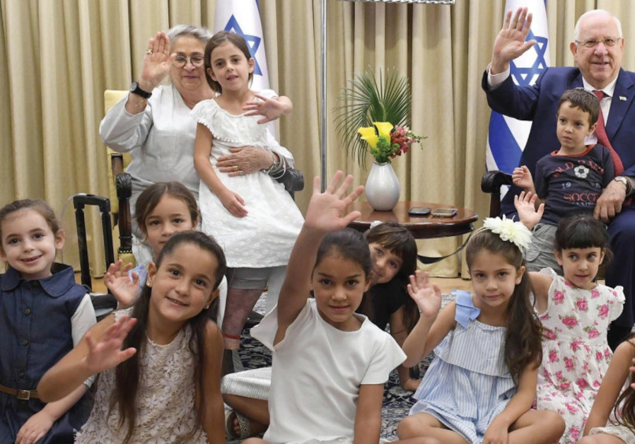 President Reuven Rivlin and his wife Nechama host the children of President's Residence staffers who