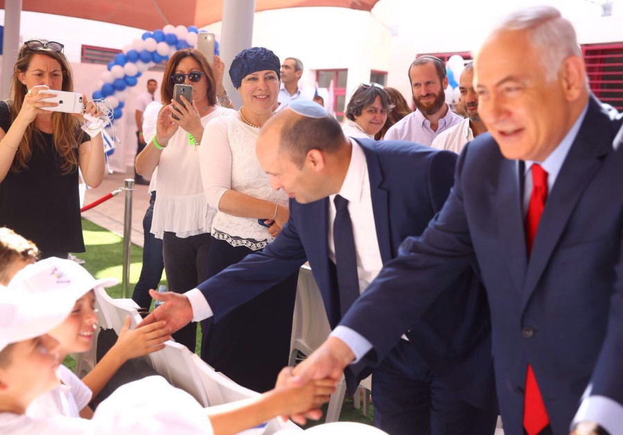 Netanyahu and Bennett greet students on the first day of school, September 2017