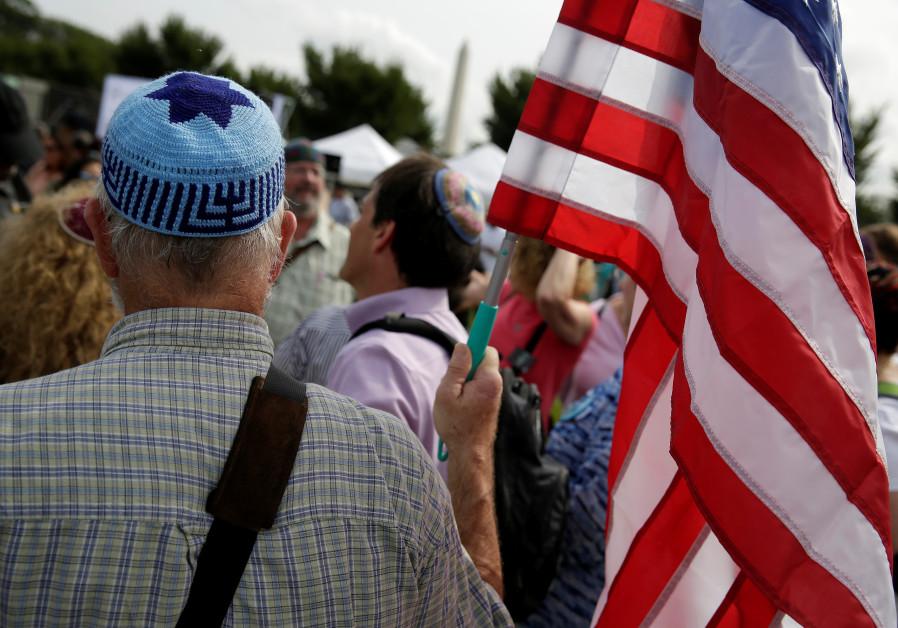 kippa jewish american flag US america protest judaism