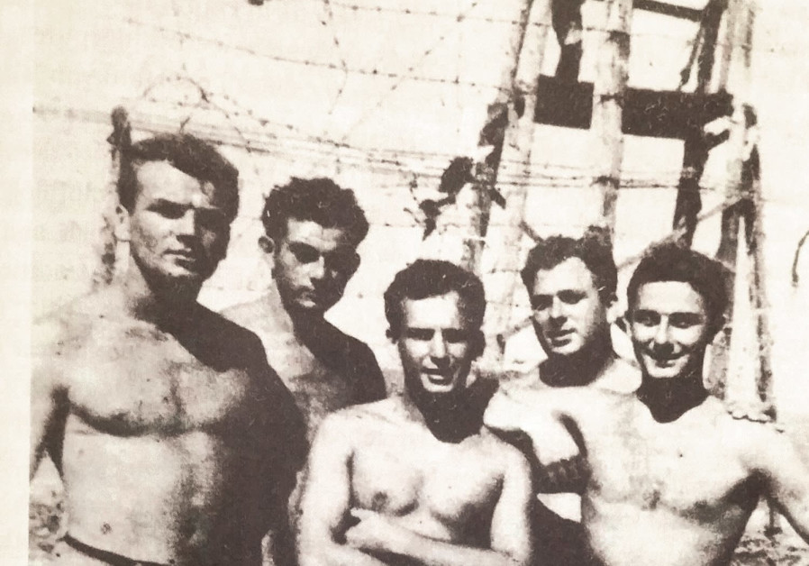 Hatikvah crew members in Cyprus (from left) Hugh McDonald, Sam Gordon, Harold Katz, Joe Gilden and M