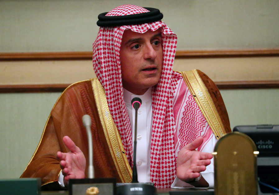 Saudi Arabia's Foreign Minister Adel al-Jubeir speaks at a briefing with reporters at the Saudi Emba