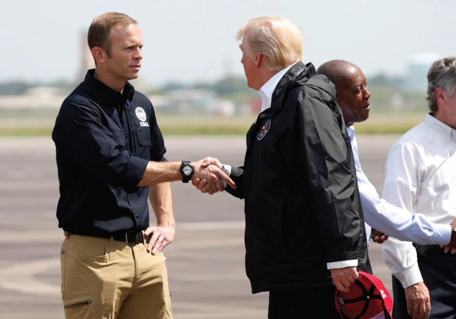 US President Donald Trump meets FEMA Director Brock