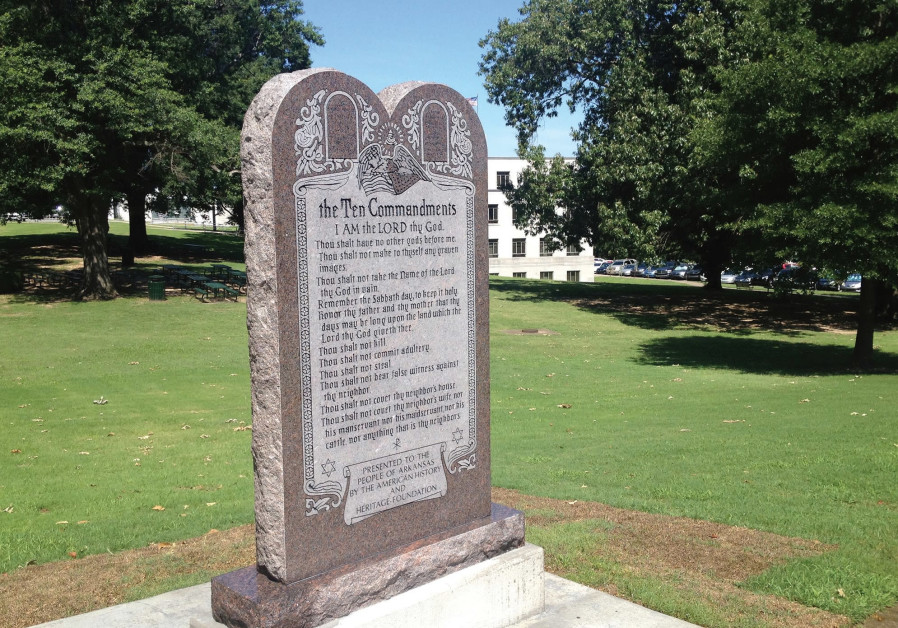 STATUE of the Ten Commandments is seen after it was installed on the grounds of the state Capitol in