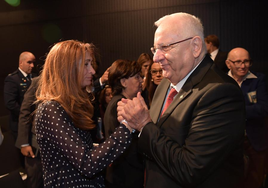 President Rivlin with family members of the slain Israeli Olympians