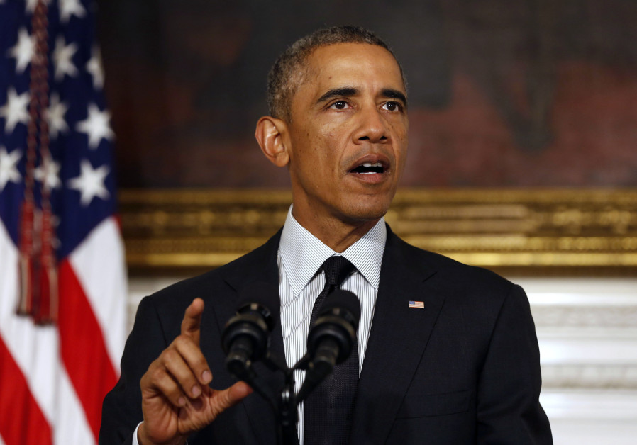Barack Obama gives a statement at the White House