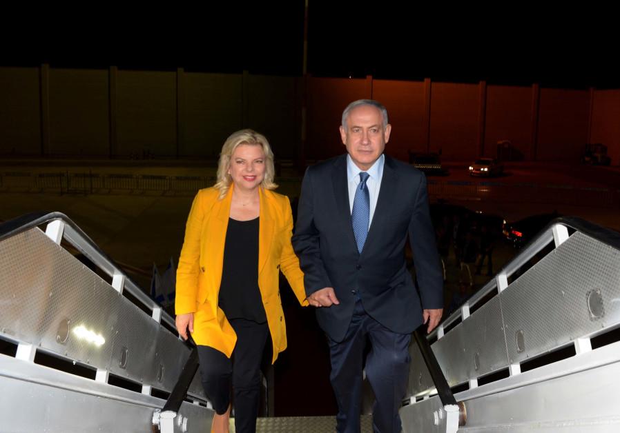 Prime Minister Benjamin Netanyahu and his wife, Sara Netanyahu en route to South America, September