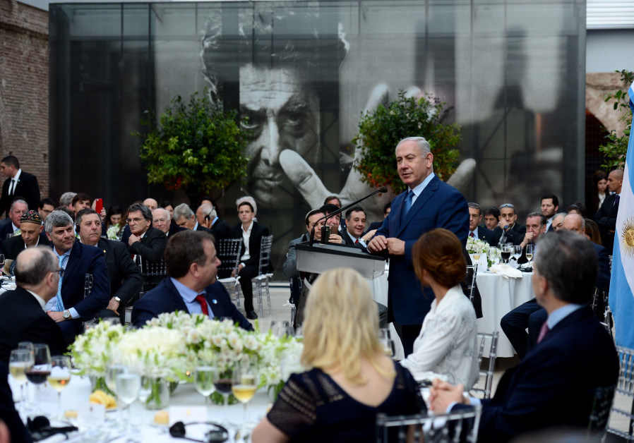 Prime Minister Benjamin Netanyahu speaking at the House of the Argentinian president in Buenos Aires