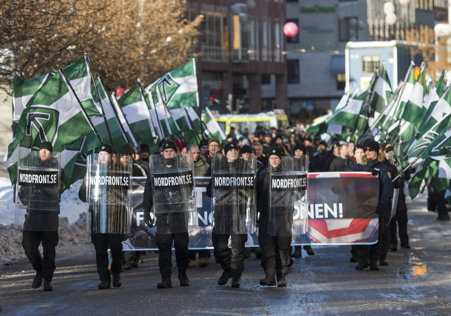 The neo-nazi Nordic Resistance Movement sympathisers demonstrate in Stockholm, Sweden