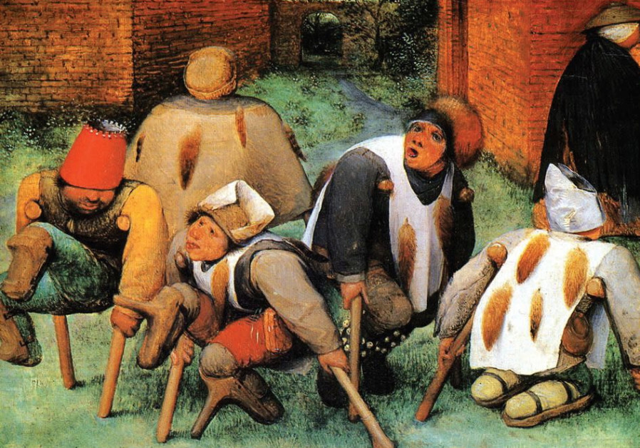 In Pieter Bruegel the Elder's 'The Beggars' (1568) the tails pinned to the backs of characters are l
