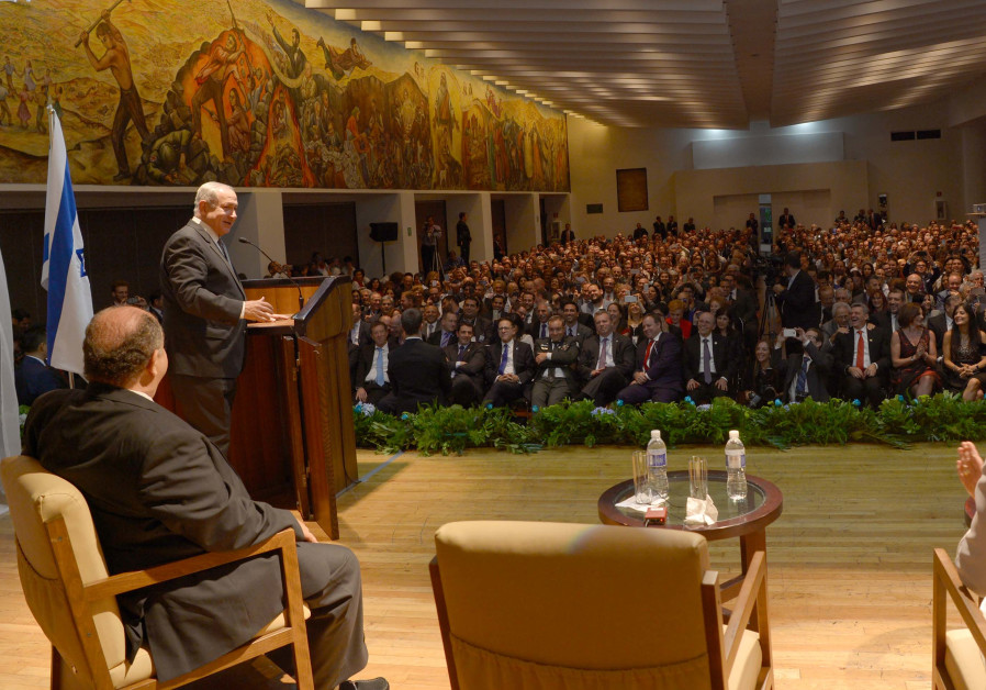 Prime Minister Benjamin Netanyahu speaking at an event for the Jewish community in Mexico City, Sept