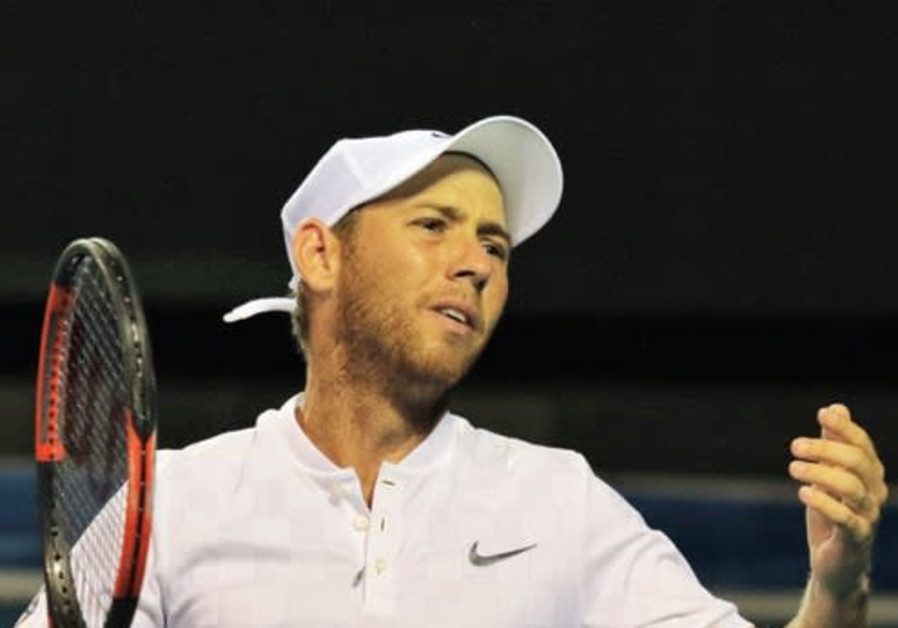 Dudi Sela playing Ukraine in Europa/Africa Group I Davis Cup action at Ramat Hasharon.