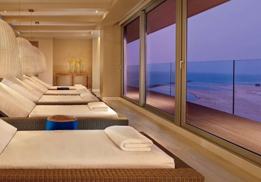 The relaxation room at the spa at the Ritz-Carlton in Herzliya looks out over the sea.