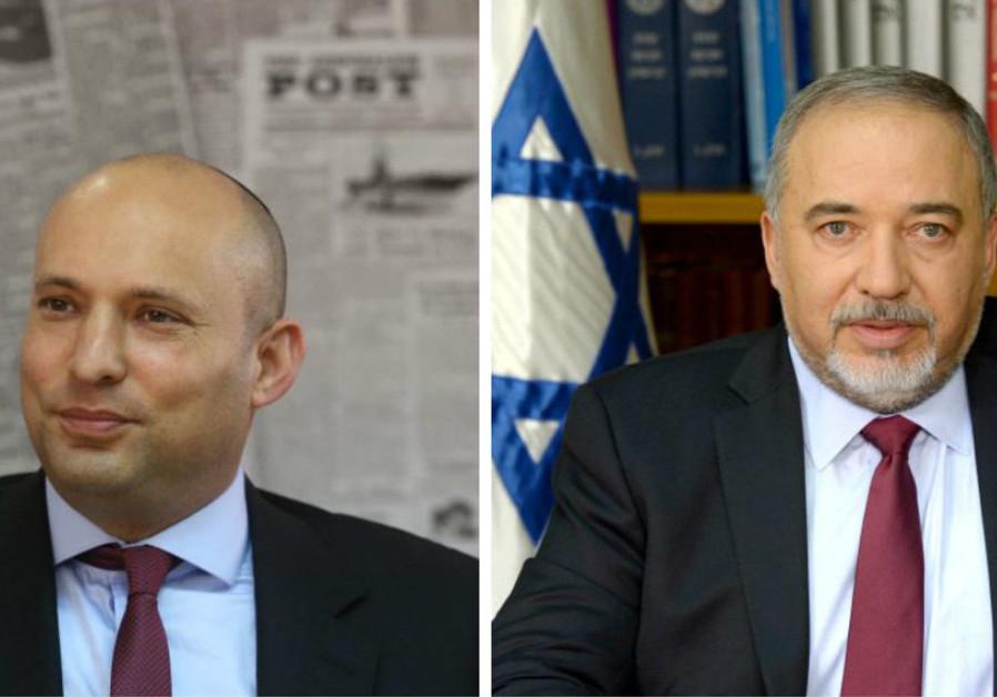 Naftali Bennett (left) and Avigdor Liberman