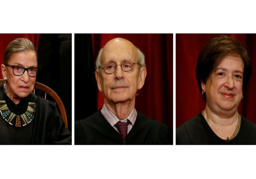 Supreme Court Justices Ruth Bader Ginsburg (Left) Stephen Bryer and Elana Kagan