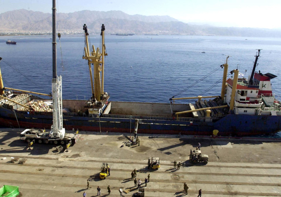 Karine A in the Red Sea after Israel's navy seized the ship carrying 50 tons of weapons, explosives
