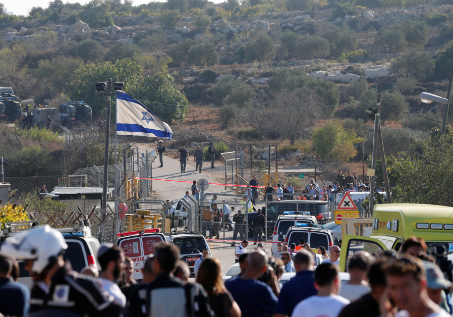A general view of the scene of the terror attack in Har Adar