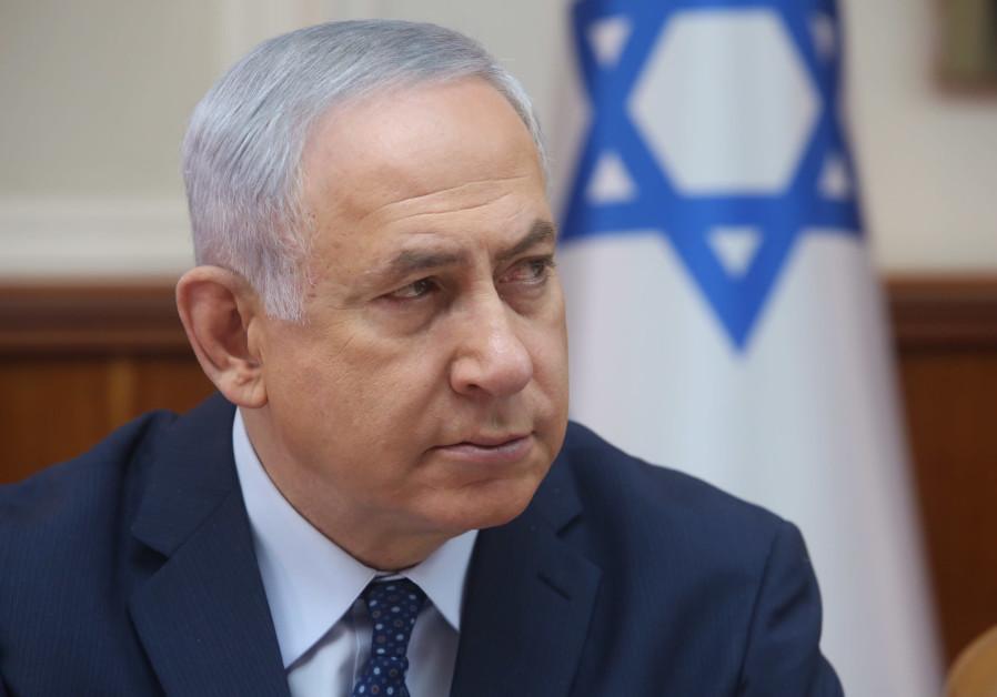 Israeli Prime Minister Benjamin Netanyahu at a cabinet meeting
