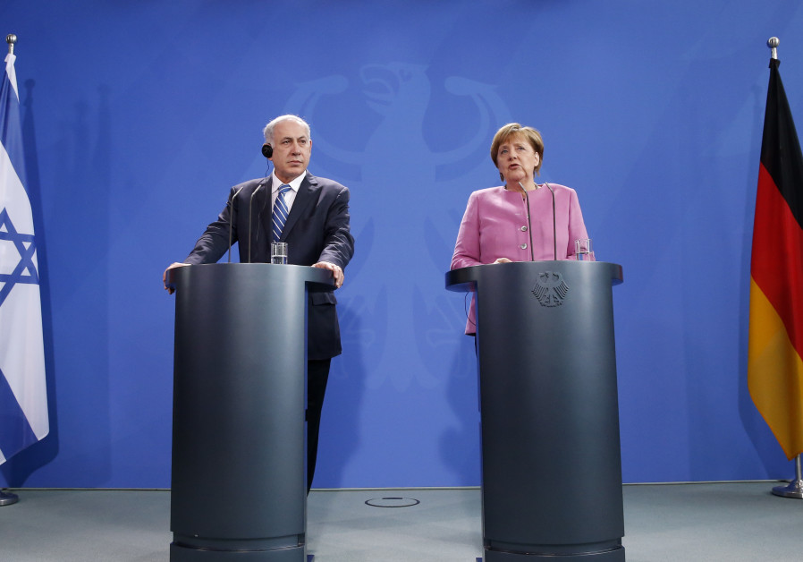 Israeli PM Netanyahu and German Chancellor Merkel address a news conference