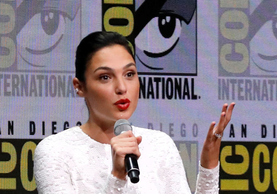 """Cast member Gadot at a panel for """"Justice League"""" during the 2017 Comic-Con International Convention"""