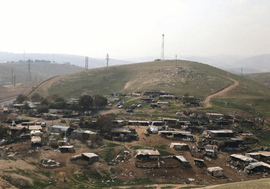 THE BEDUIN encampment of Khan al-Ahmar is seen near Ma'aleh Adumim.