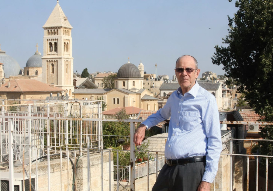 Judge Steve Adler on the balcony of his home in Jerusalem's Old City on September 13, 2017