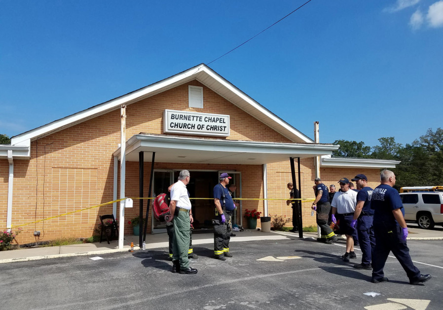 The scene where people were injured when gunfire erupted at the Burnette Chapel Church of Christ, i