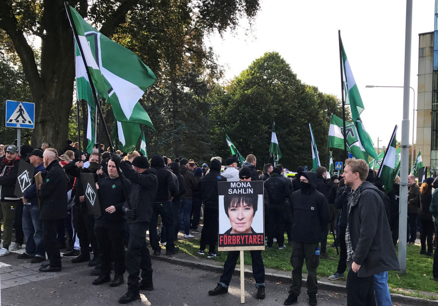 Members of the Nordic Resistance Movement gather before a demonstration in Gothenburg, Sweden Septem