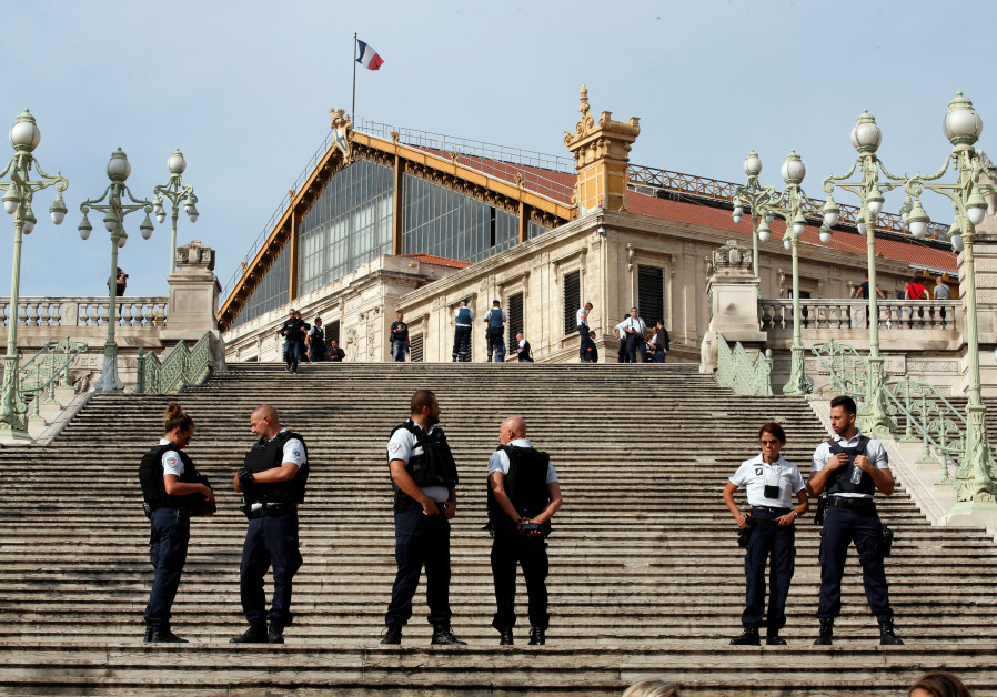 French police outside the Saint Charles train station in Marseille after a stabbing attack there tha