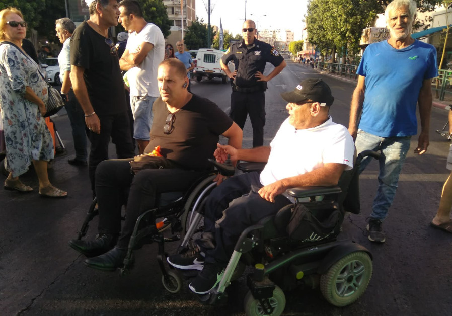 Disabled Israelis take part in a protest