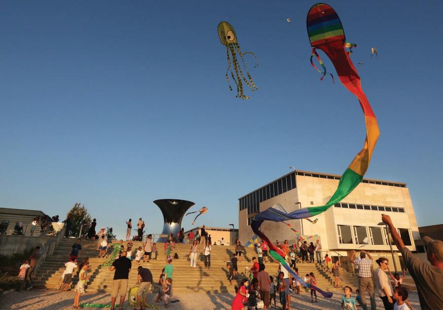 Kite-flying Festival at the Israel Museum's Billy Rose Art Garden.