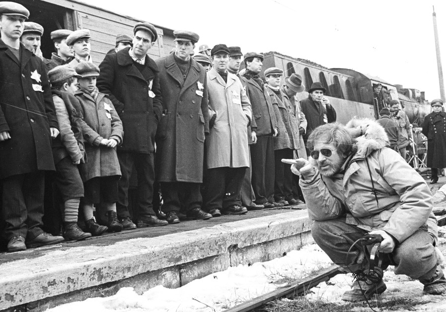 "Steven Spielberg on the set of ""Schindler's List."""