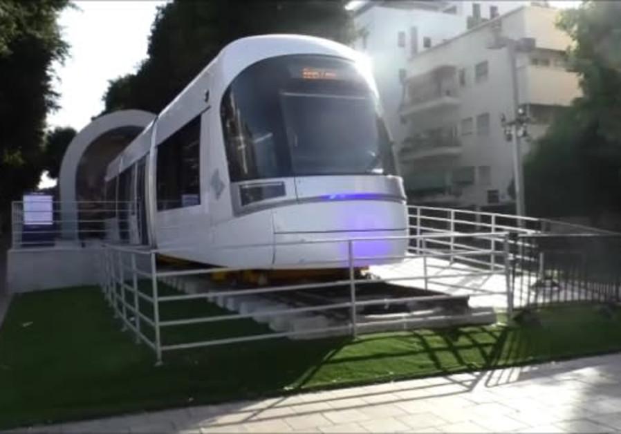 Light rail train car on display in central Tel Aviv.