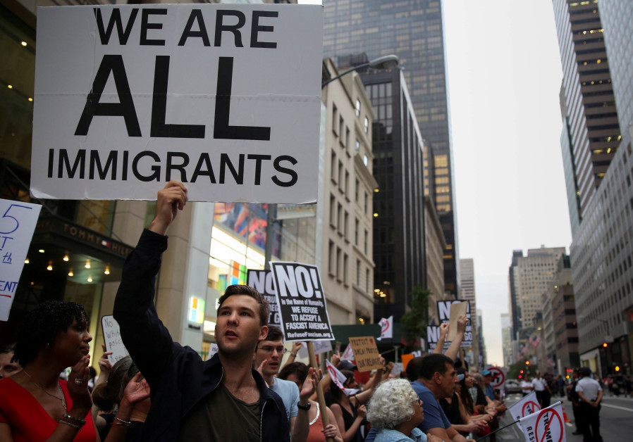A protest against Trump's immigration policies outside Trump Tower, Manhattan, August 2017
