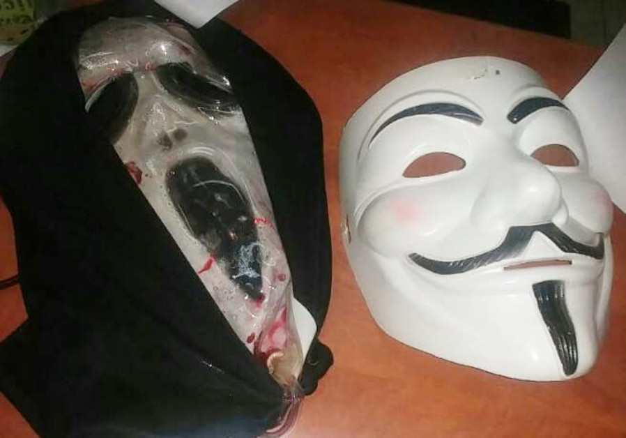Two of the masks recovered after the arrests of 2 youths, October 2017
