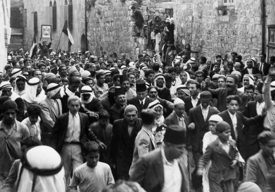 Palestinians demonstrate in the Old City of Jerusalem, 1937