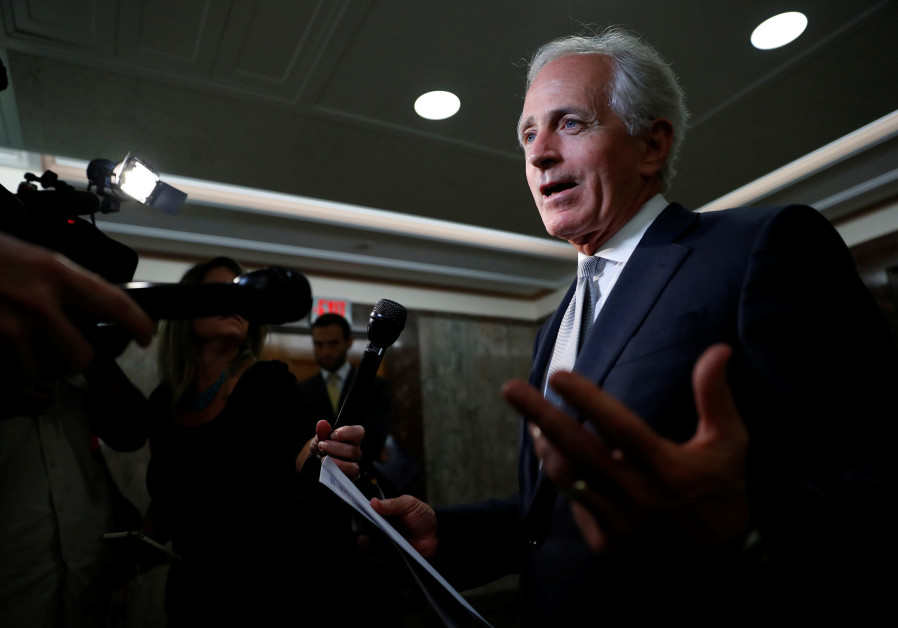 Sen. Bob Corker (R-TN) speaks with reporters after announcing his retirement.
