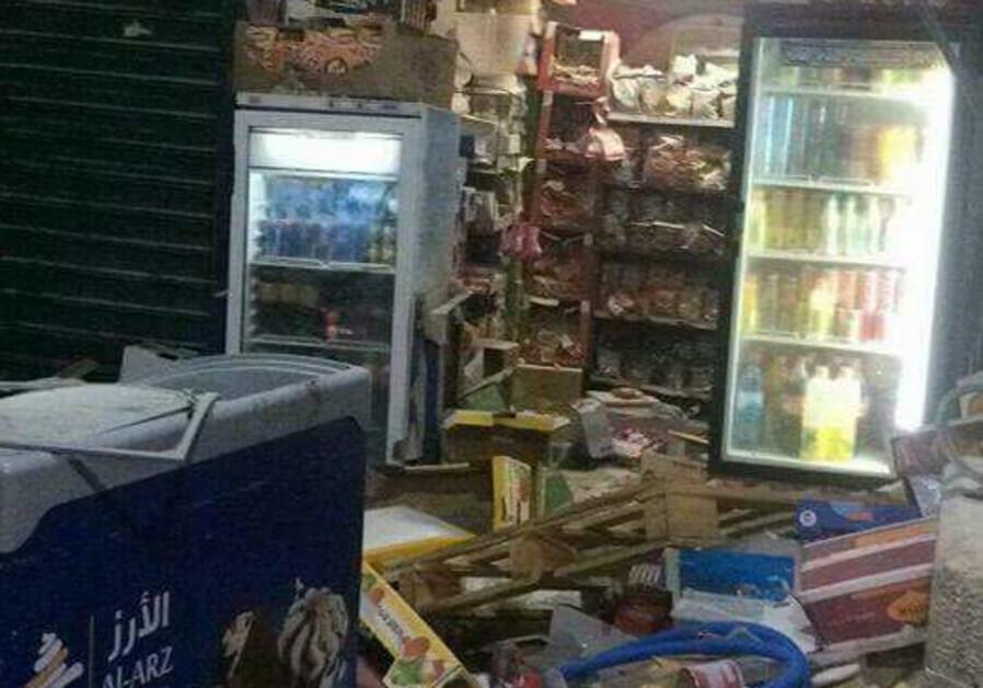 A vandalized shop in the Old City of Jerusalem, October 2017