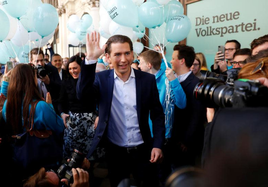 Top candidate of Peoples Party (OeVP) and Foreign Minister Sebastan Kurz arrives in front of his par