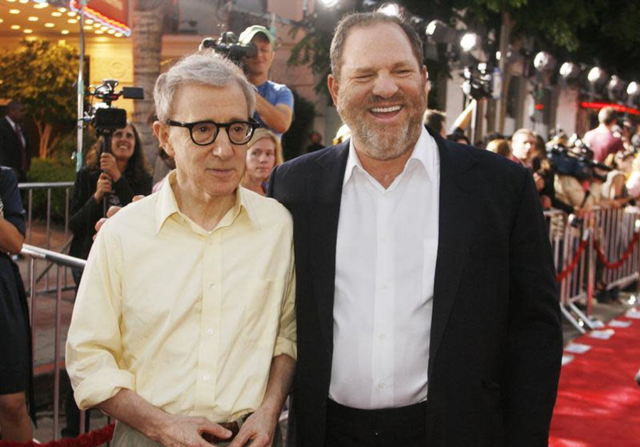 "Woody Allen, director of the new film ""Vicky Cristina Barcelona"", poses with Harvey Weinstein, co-ch"