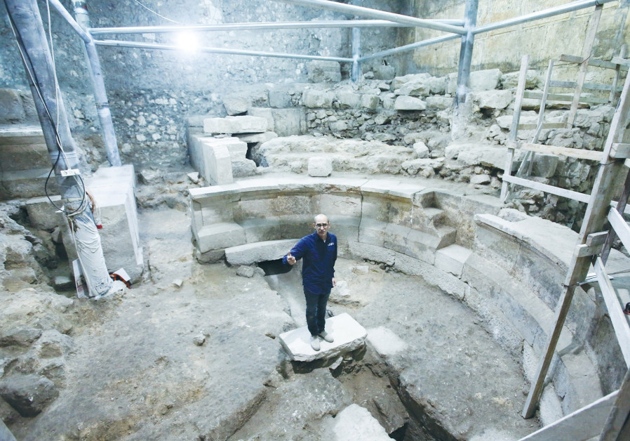 JOE UZIEL stands yesterday in the Roman theater uncovered during excavations of the Western Wall tun