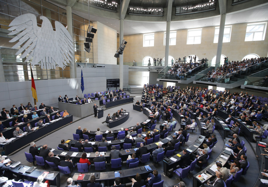 The interior of the Reichstag, the German Parliament building