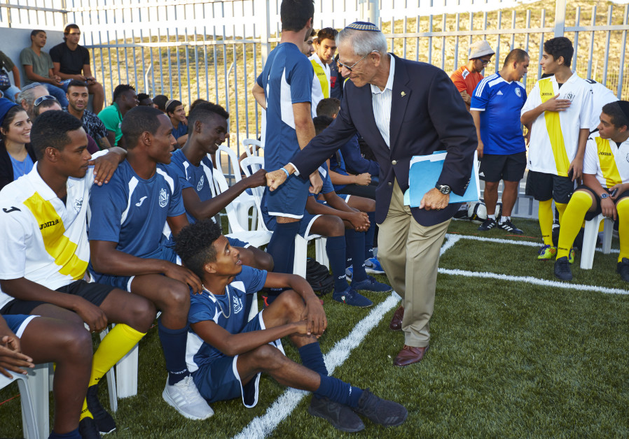 Holocaust survivor George Blank inaugurated a new soccer field for the Yemin Orde youth village in n