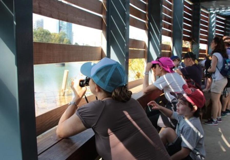 Children engage in birdwatching at Rosh Tzippor