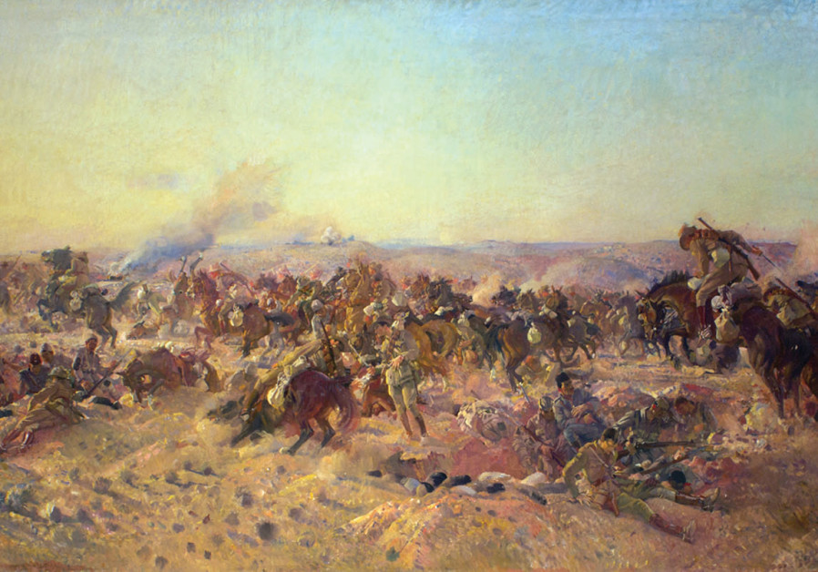 'The charge of the Australian Light Horse at Beersheba, 31 October 1917,' painted by George Lambert