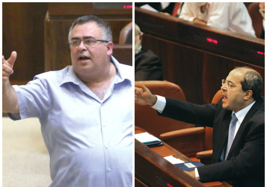 Likud MK David Bitan (left) and Joint List MK Ahmed Tibi gesture during Knesset debates