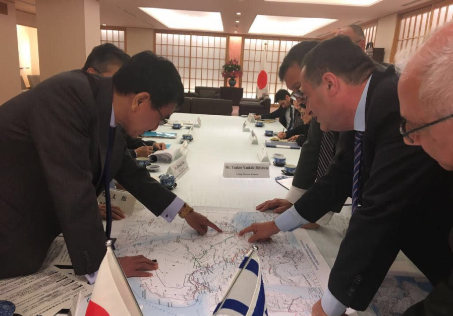 Intelligence and Transportation Minister Israel Katz with Japanese Foreign Minister Taro Kono,